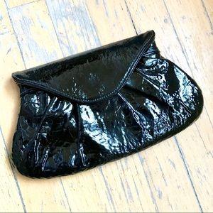 EUC Lauren Merkin black patent leather clutch